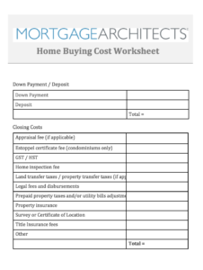 Home Buying Cost Worksheet PDF Version Available For Download